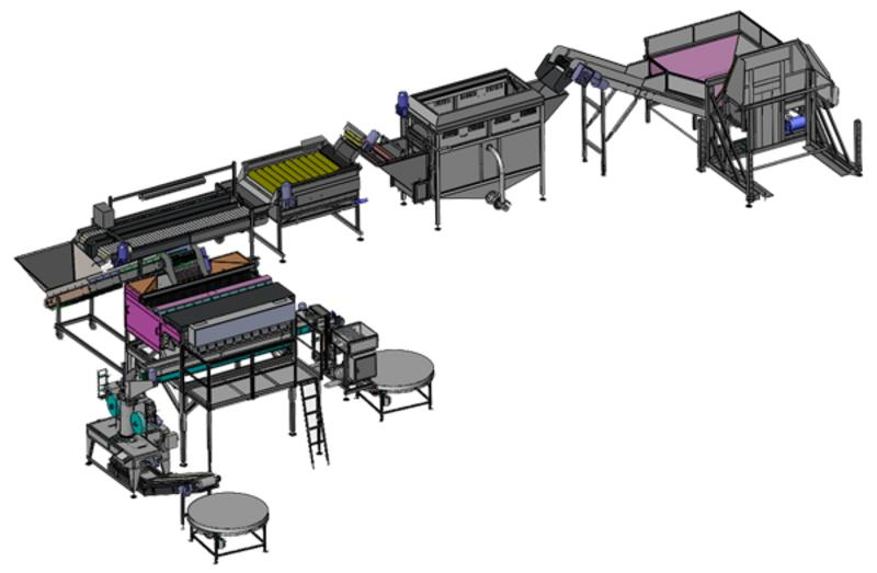 Complete line for potato washing, drying and packaging - COMPLETE LINES <ON A TURN-KEY BASIS> FOR THE FOOD INDUSTRY