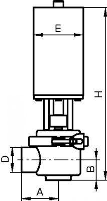 VANNE PNEUMATIQUE À CLAPET SIMPLE ÉTAGE - 2 VOIES PASSAGE EN L INOX 316 L (61331)