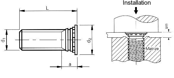 Self-clinching fasteners - PEM® - Self-clinching flush head studs Type FH4, FHP