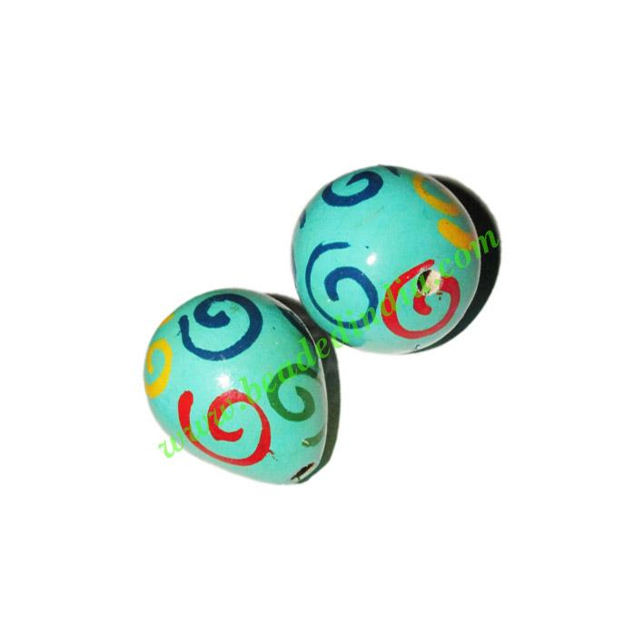 Wooden Painted Beads, Fancy Design Hand-painted beads, size  - Wooden Painted Beads, Fancy Design Hand-painted beads, size 23x28mm, weight appr