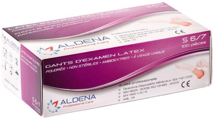 Gants ALDENA en Latex légèrement poudrés boîte de 100 pièces