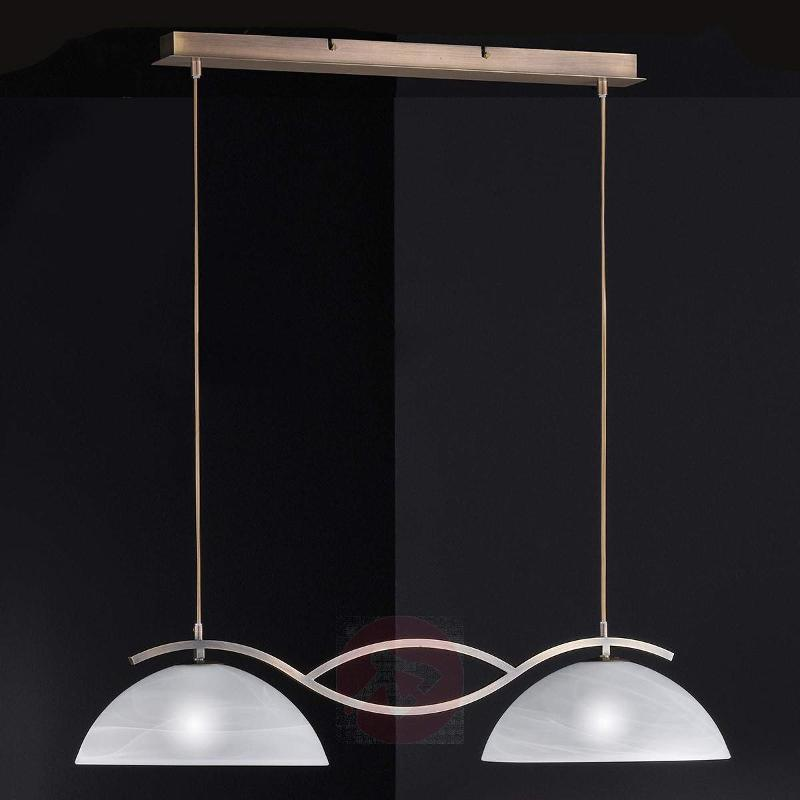glass double pendant light Pastille, antique brass - Pendant Lighting