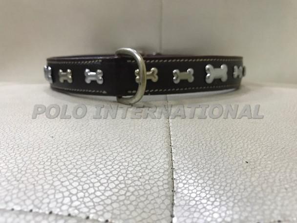LEATHER DOG COLLAR - BONE DESIGN DOG COLLAR