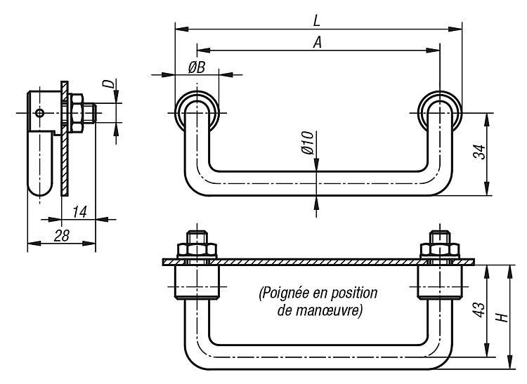 Poignée de manutention escamotable - Poignées de manutention, poignées tubulaires et poignées alcôve