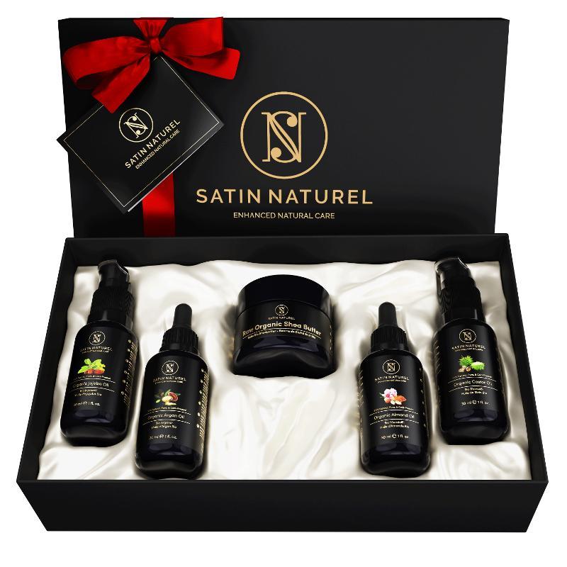 Natural Organic Body Care Set, Gift Set, Vegan 5x30 Ml  - Shea Butter, Argan Oil,Jojoba Oil,Almond Oil,Castor Oil - for on the go & travel