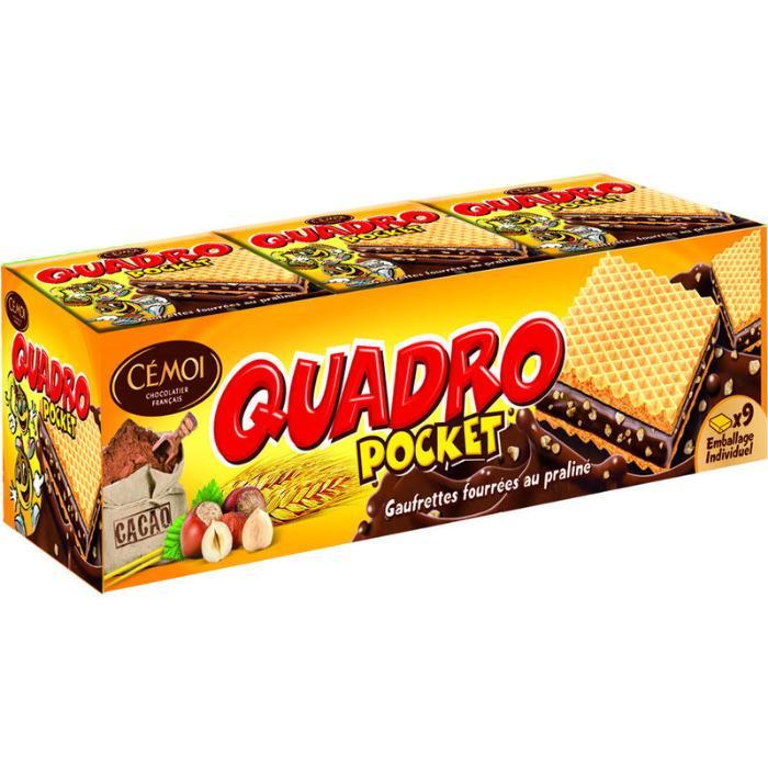 Gaufrettes quadro pocket chocolat praliné 187g - CÉMOI -