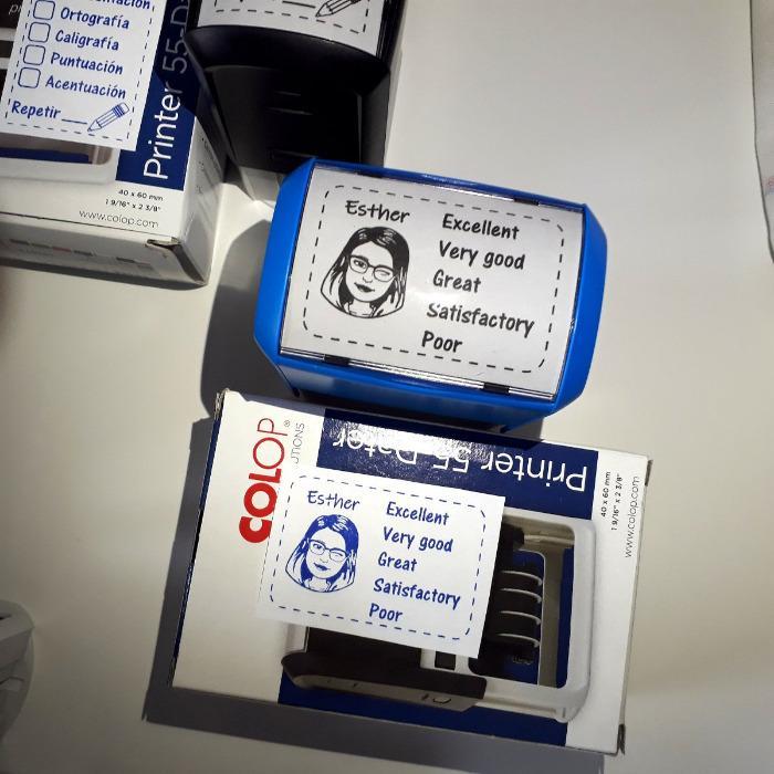 Sellos de caucho personalizados autoentintables - Sello grande personalizado. Carcasa de plástico autoentintable COLOP.