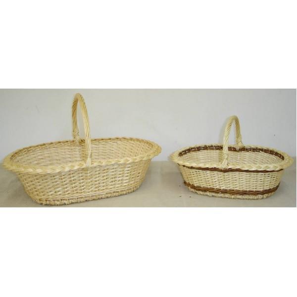 Panier layette éclisse osier blanc ou blanc/brut - null