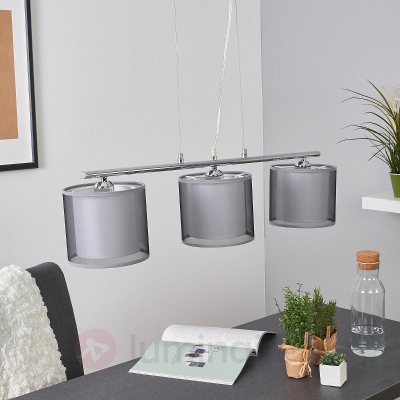 Charis - suspension pour salle à manger gris, 3 l. - Suspensions en tissu