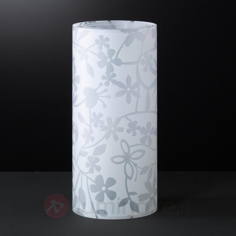 Lampe à poser blanche FLORENZ avec motif de fleurs - Lampes de chevet