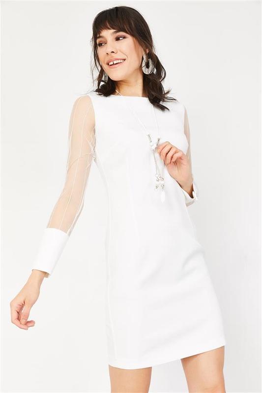 Women's Mini Pen White Lace Dress - Pencil Dress