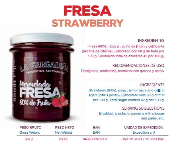 ¡REBAJAS! Mermelada artesana de fresa. 2,30€/und.  - Mermelada artesana de fresa elaborada con productos de la huerta.