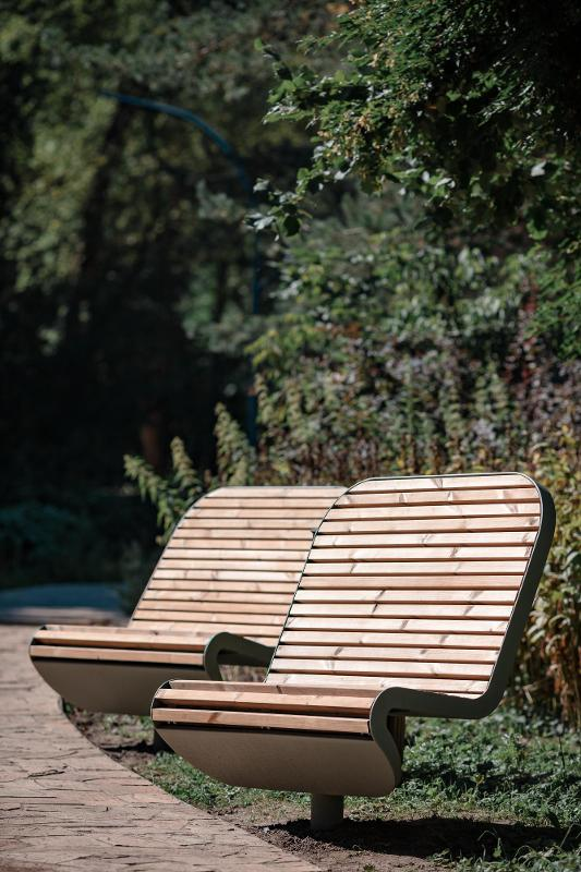 """Bench """"Techno""""(swivel, a double one with a canopy, without an embedded plate) - Benches and sun loungers"""