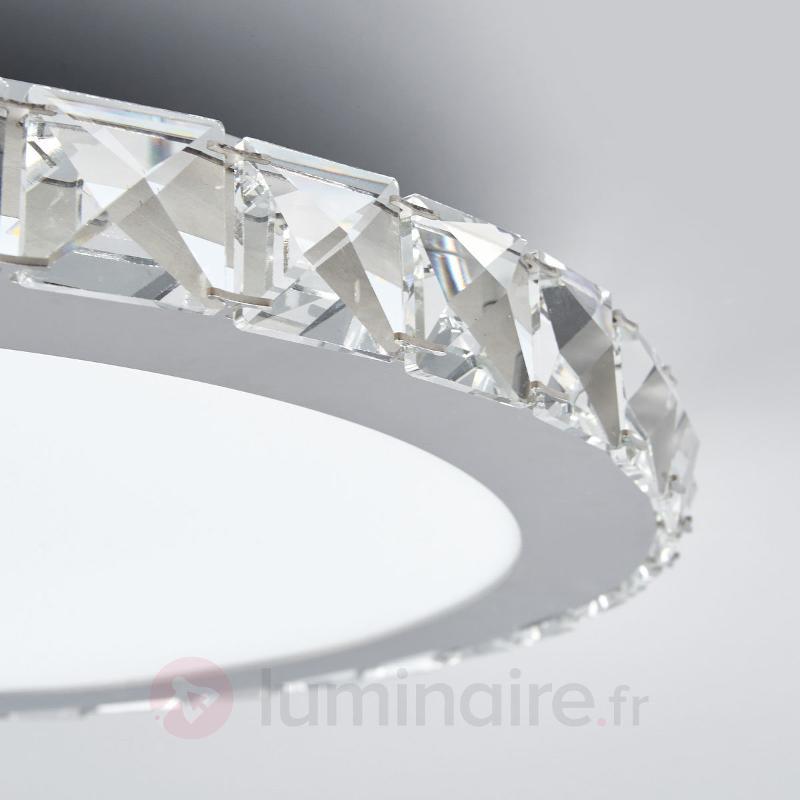 Plafonnier LED Sesilia rond à bordure en cristal - Plafonniers LED