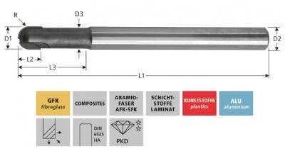 Milling Tools: for GFK/CFK - PCD ball nose end mill, Z=2
