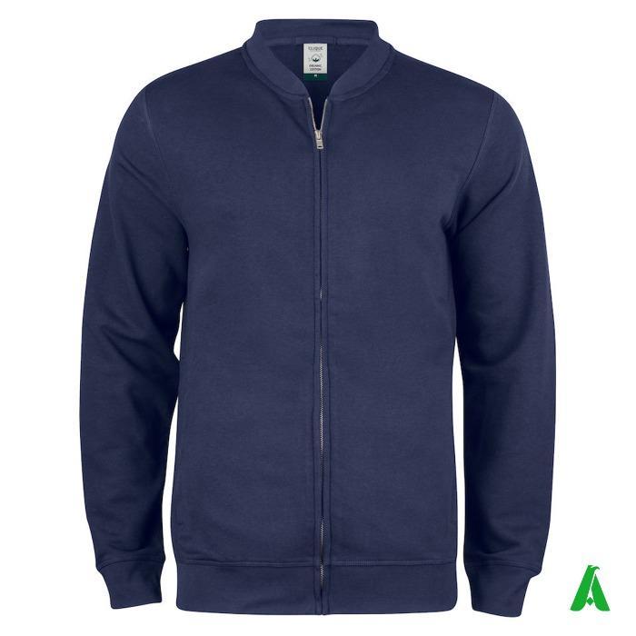 Felpa 100% cotone organico certificato, cardigan zip uomo - Felpa zip cardigan uomo 100% cotone organico certificato personalizzabile.