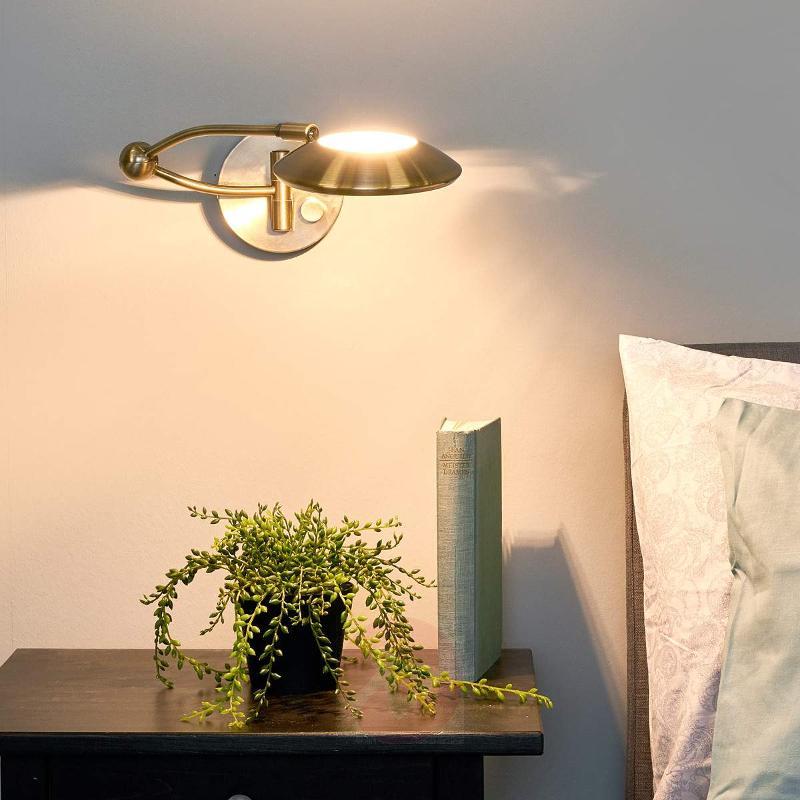 Movable MEGAN wall light, dimmer, antique brass - Wall Lights