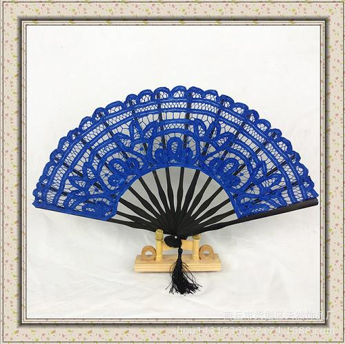 100% hand embroidery bamboo-based lace fan