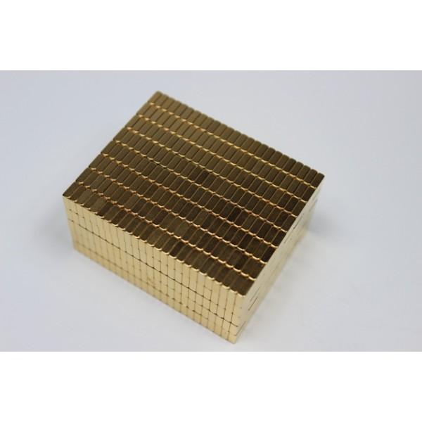 Block magnet, Neodymium, 5x5x2mm, N45, Ni-Cu-Au, gold coated - null