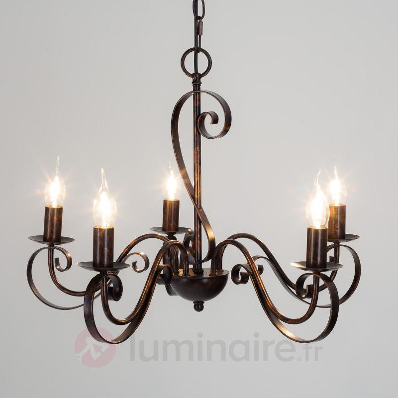 Lustre Caleb à cinq lampes, couleur rouille - Lustres rustiques