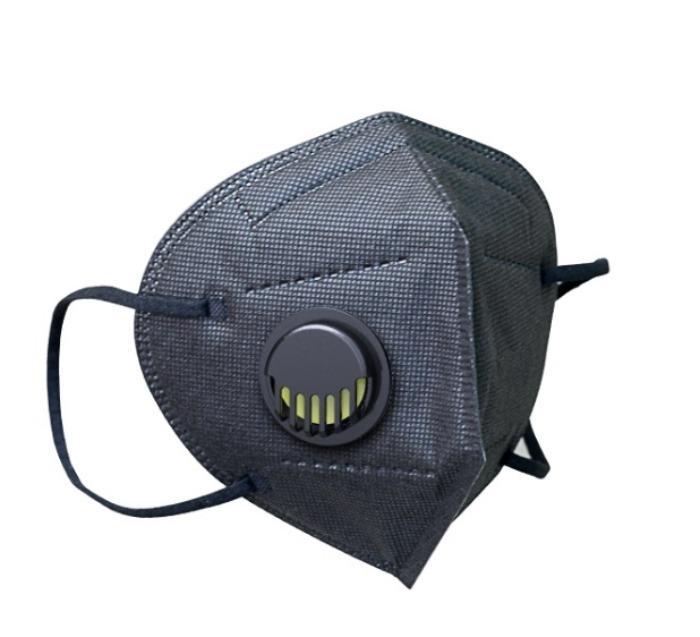 Máscara facial de proteção respiratória FFP2 preta com válvu - Máscara facial de proteção respiratória FFP2 preta com válvula Máscara de 5 cama