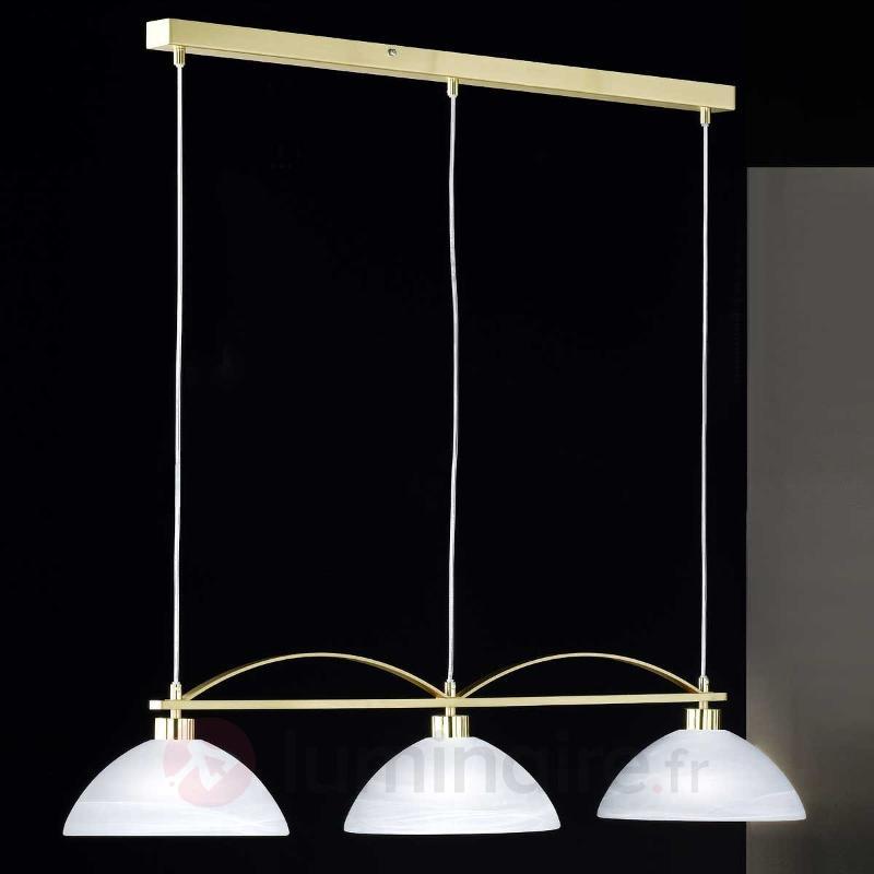 Suspension élégante à 3 lampes BRAVA laiton - Suspensions en verre