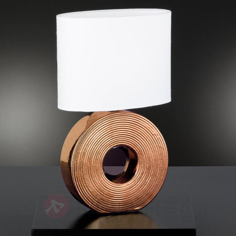 Lampe à poser Eye 38 cm avec pied couleur bronze - Lampes à poser en tissu