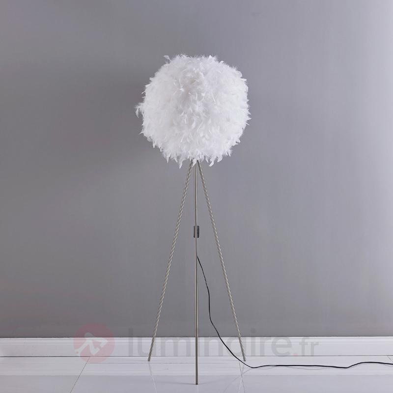 Pauline - lampadaire LED trois pieds à des plumes - Lampadaires en tissu