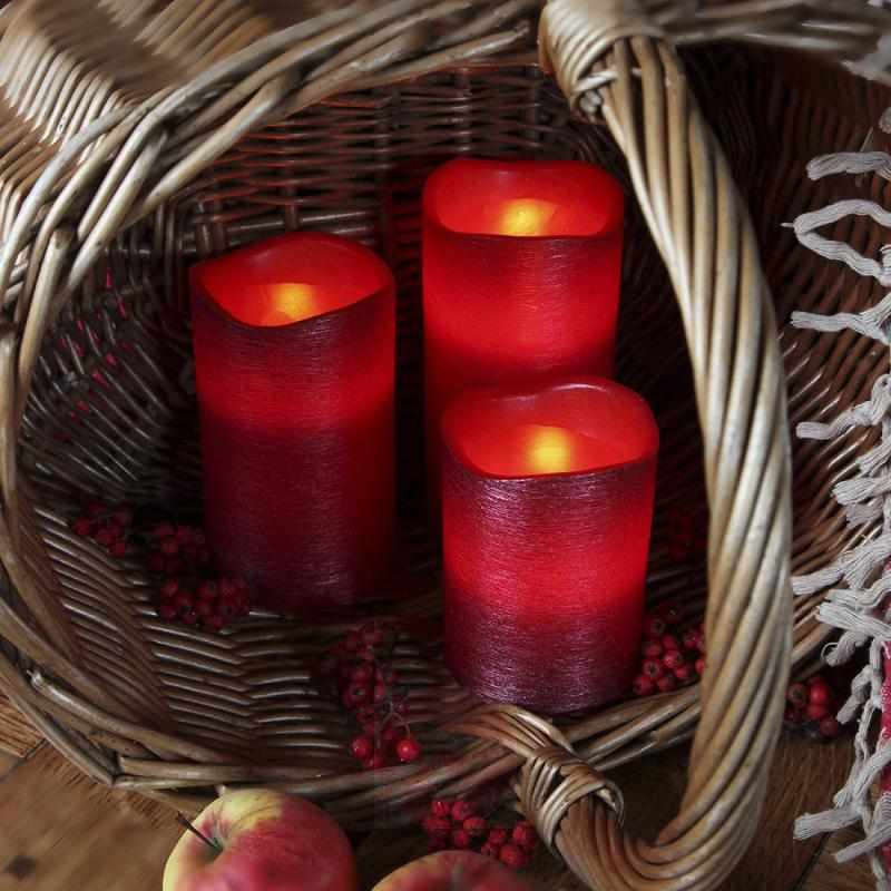 10 cm real waxLED candle Linda structured red - design-hotel-lighting