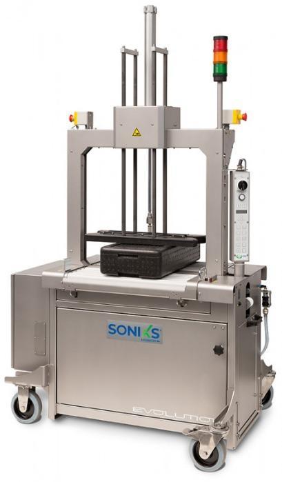 Evolution SoniXs MP-6 R-VA - Máquina flejadora totalmente automática de acero inoxidable de rodillos