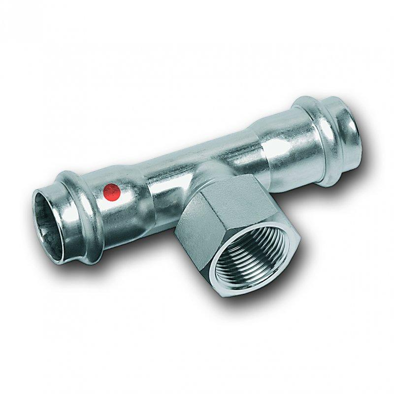 Tee, female/female end and female thread - Stainless steel press fitting system NiroTherm®, AISI 304, EPDM
