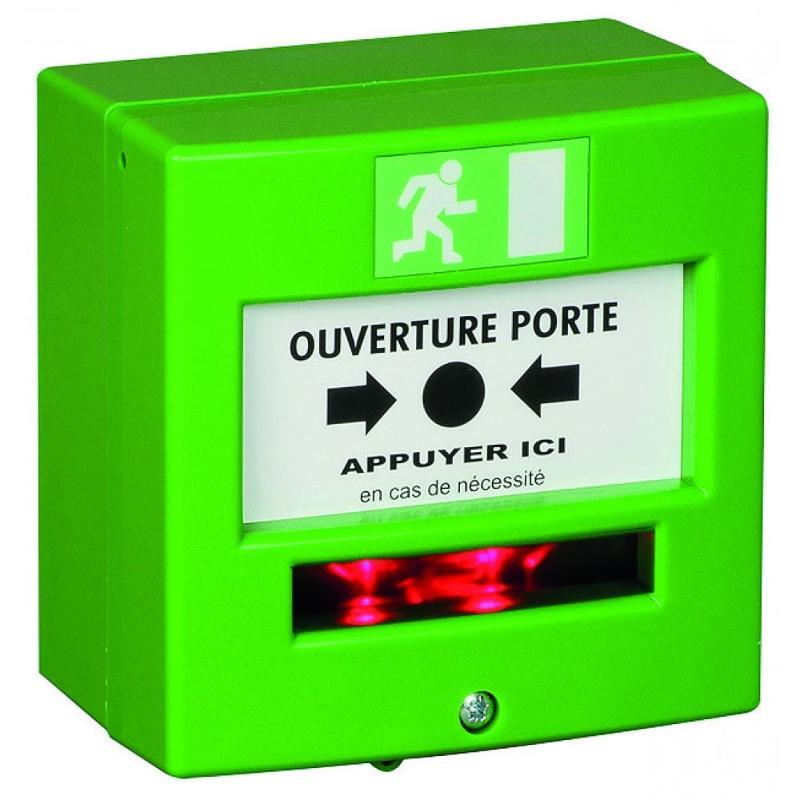 Déclencheur manuel vert 1 contact sec - Gestion d'accès