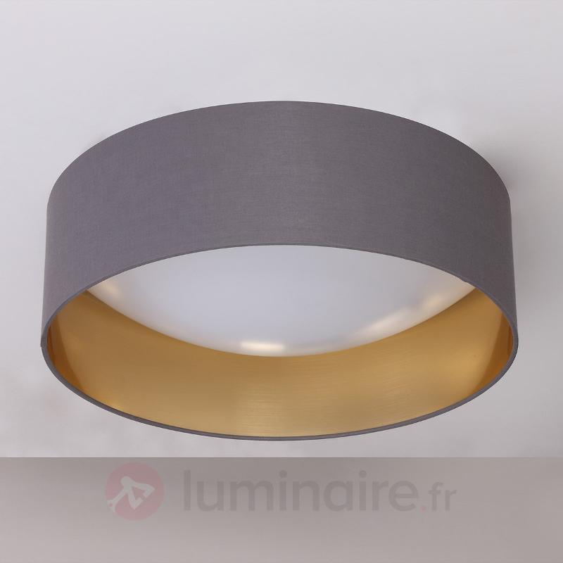 Plafonnier textile Coleen gris doré à l'intérieur - Plafonniers en tissu