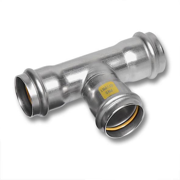 Edelstahl-Rohrleitungssystem NiroSan® Gas - T-Stück, allseitig mit Pressanschluss