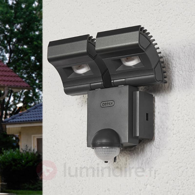 Double spot LED Noxlite Lum avec capteur, 3000 K - Appliques d'extérieur avec détecteur