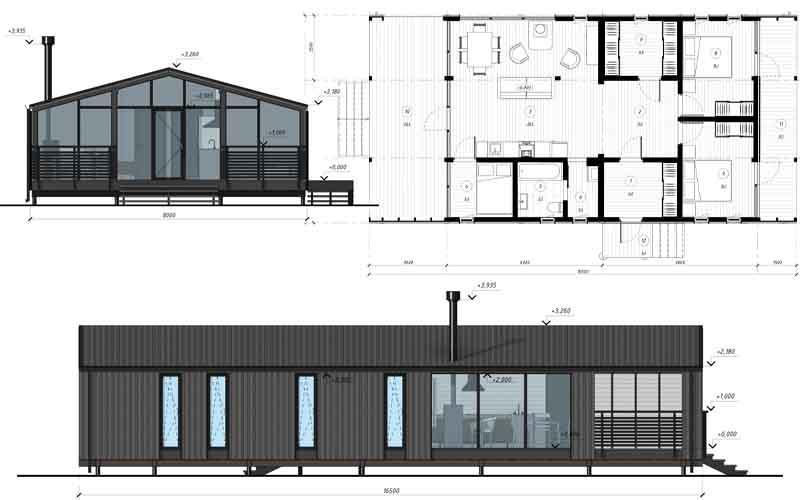 Модульный дом DUBLHAUS  87 - Всесезонный модульный дом 87 м2, рассчитанный на перевозку в готовом виде.