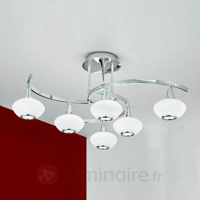 Intéressant plafonnier LURANA, à 6 lampes - Plafonniers chromés/nickel/inox