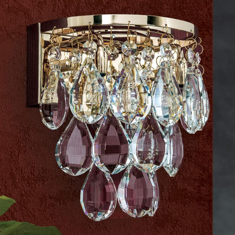 Pretty wall light Helene with crystal decorations - indoor-lighting