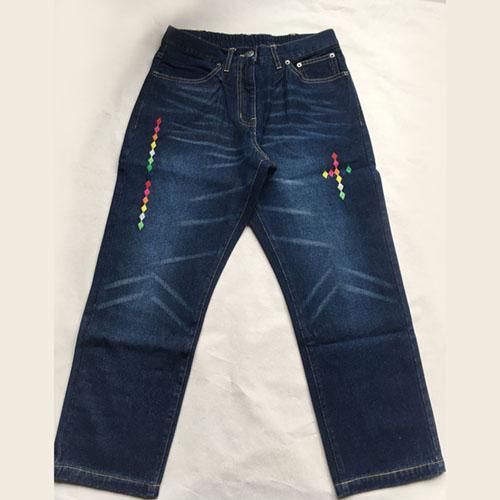 Jeans  Stonewashed dark blue denim trousers -