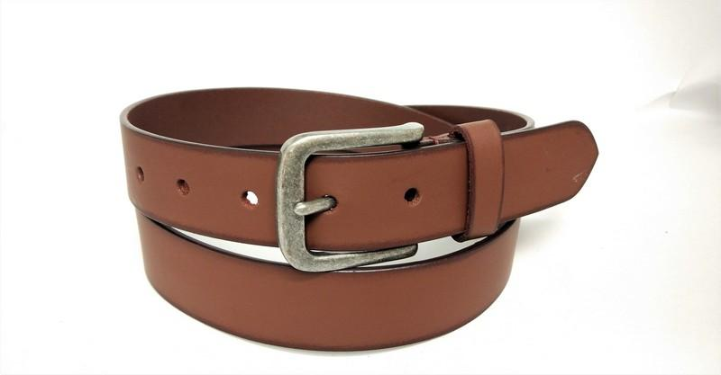 Split jeans belt for unisex - Tan burnishing split belt with hand padding