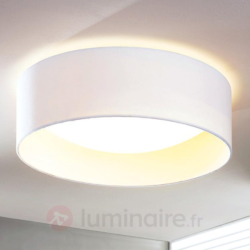 Plafonnier LED en tissu chic Franka en blanc - Plafonniers en tissu