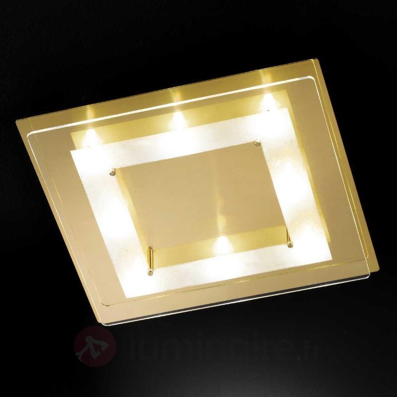 Plafonnier carré LED LAMEI laiton - Plafonniers LED
