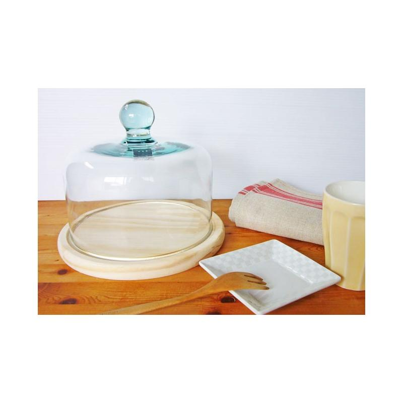 Cloche à Fromage ou à gâteau en verre, support en bois - Vaisselle de Table