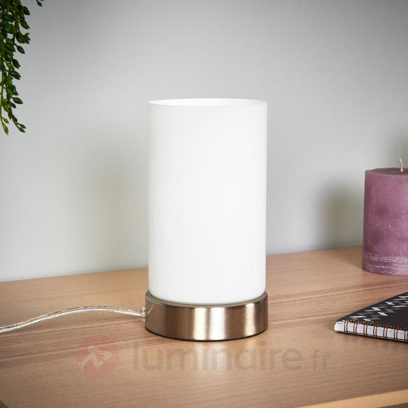 Lampe à poser LED cylindrique Levka en verre - Lampes de chevet