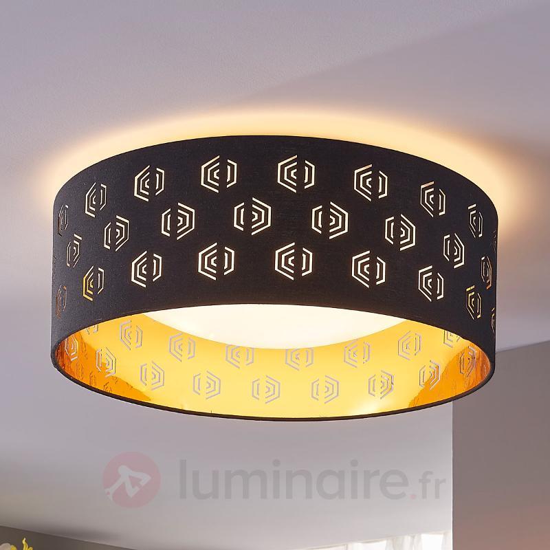Plafonnier LED noir doré Marsel en tissu - Plafonniers en tissu
