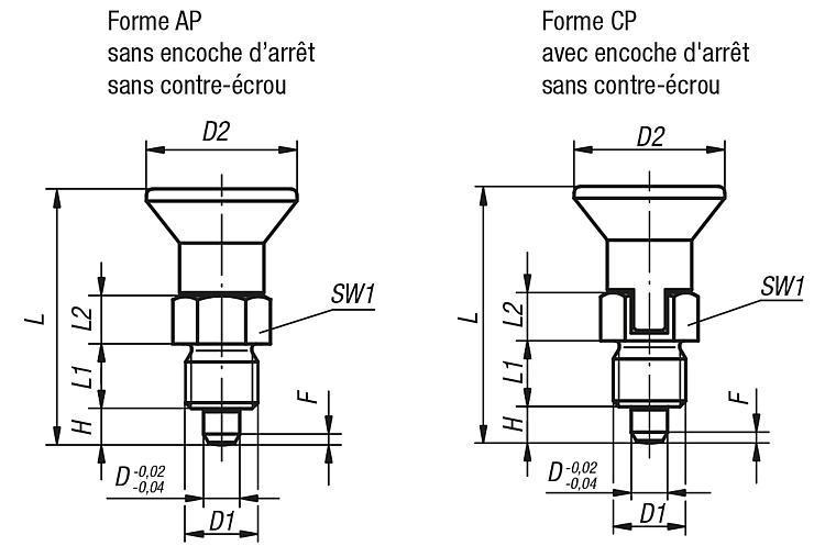 Doigts d'indexage modèle court, avec frein-filet - Doigt d'indexage à corps lisse
