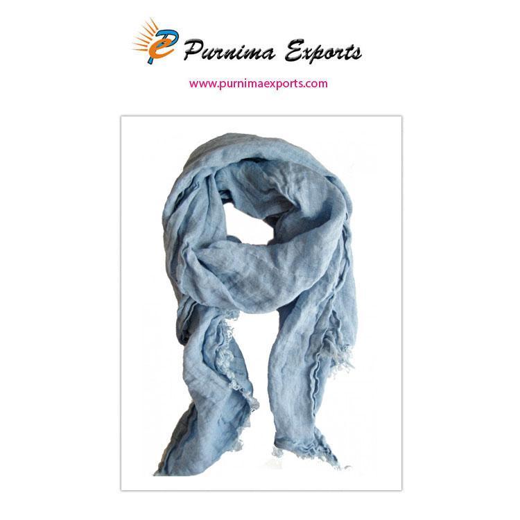 foulard en lin bleu-gris -
