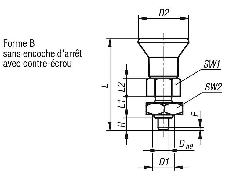 Doigt d'indexage ECO, modèle court - Doigt d'indexage à corps lisse
