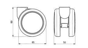 "Reinforced copolymer ""W"" type soft treads ADAPTO® - CASTOR EMI Ø mm. 65 ""GEMIOPEN"" + ""ADAPTO""®"