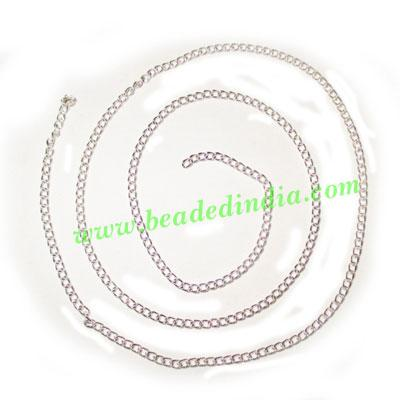 Silver Plated Metal Chain, size: 0.5x2mm, approx 150.3 meter - Silver Plated Metal Chain, size: 0.5x2mm, approx 150.3 meters in a Kg.